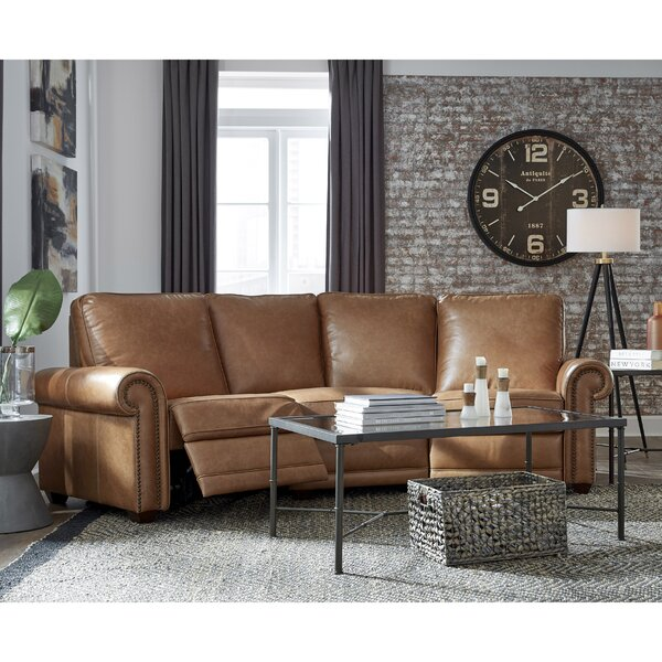 Glantz Leather Symmetrical Reclining Sectional By Canora Grey