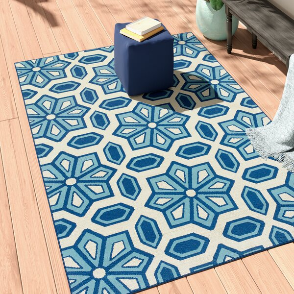 Eldridge Ivory/Blue Indoor/Outdoor Area Rug by Three Posts