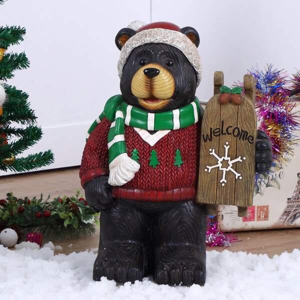 Bear with Scarf Holding Welcome Sign Oversized Figurine by The Holiday Aisle