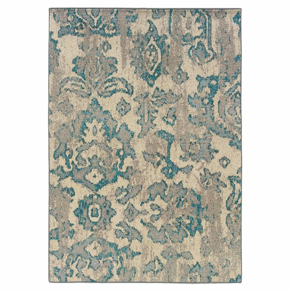 Terrell Floral Blue/Gray Area Rug by Bungalow Rose