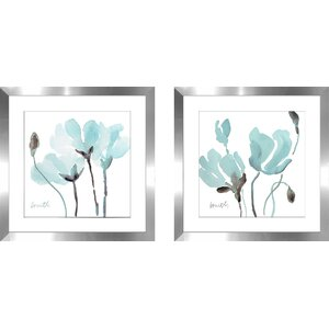 'Teal Magnolias I' 2 Piece Framed Watercolor Painting Print Set by Latitude Run