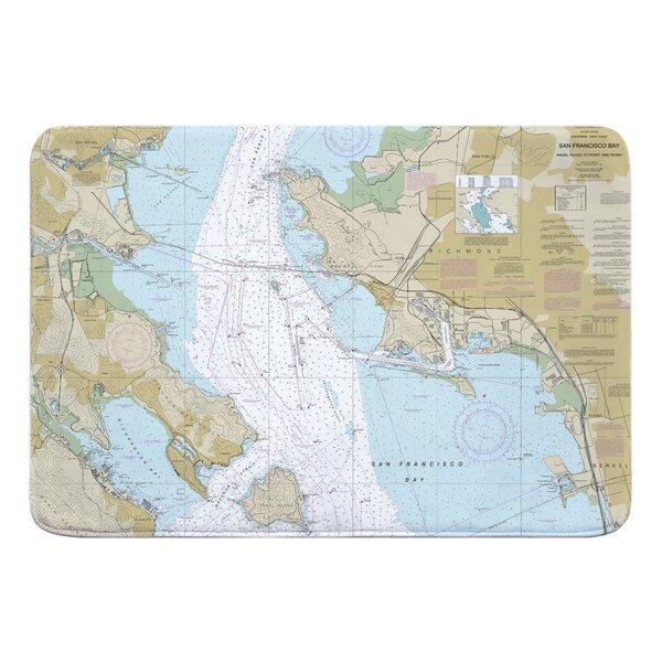 Nautical Chart San Francisco Bay, Angel to Point San Pedr, CA Rectangle Memory Foam Non-Slip Bath Rug