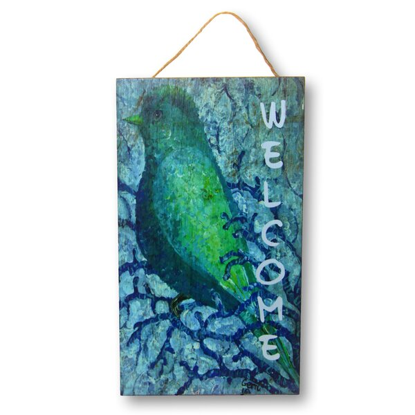 Bluebird Welcome Sign by Gerri Hyman Painting Prin