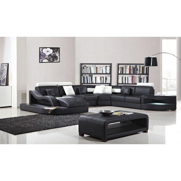 Deanne Leather Modular Sectional by Orren Ellis