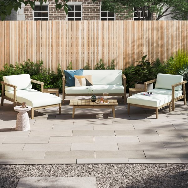 Annalese Outdoor Patio 8 Piece Teak Sofa Seating Group with Cushions by Foundstone