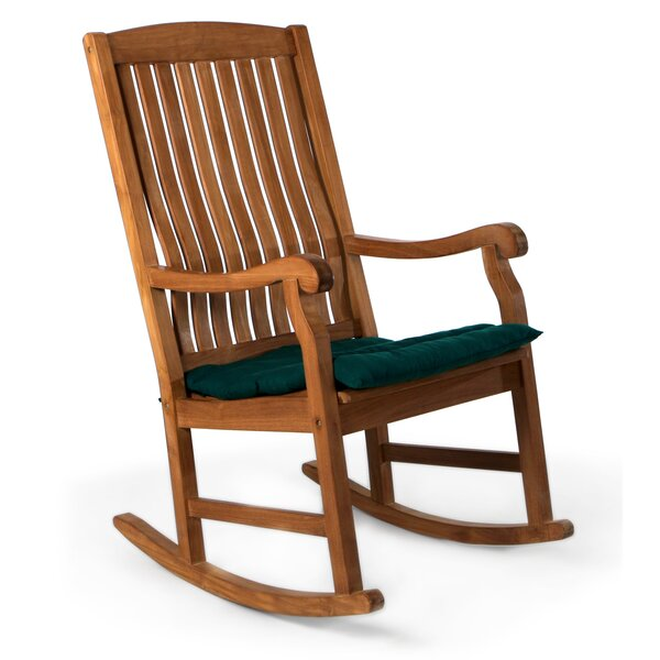 Espinosa Teak Rocking Chair with Cushions by Breakwater Bay