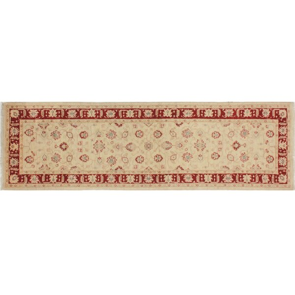 One-of-a-Kind Romona Hand-Knotted Ivory/Red Area Rug by Isabelline
