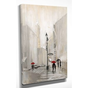 'New York Shadows' by Janet Brignola-Tava Painting Print on Wrapped Canvas by Wexford Home