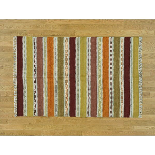 One-of-a-Kind Bessey Striped Handmade Kilim Wool Area Rug by Isabelline