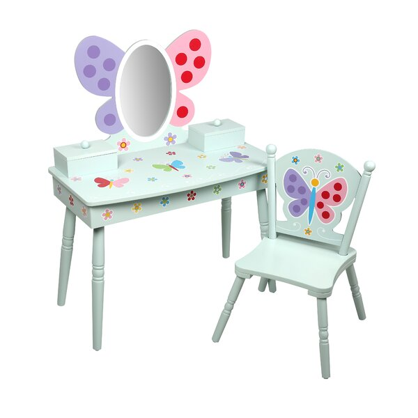 Olive Butterfly Garden Kids Vanity Set with Mirror by Levels of Discovery