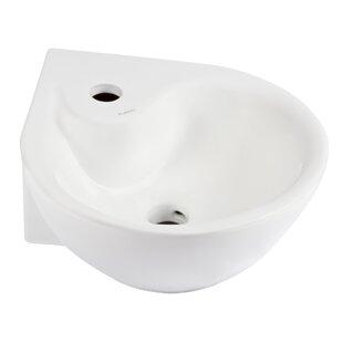 Reviews Ceramic 14 Corner Bathroom Sink with Overflow By Elanti