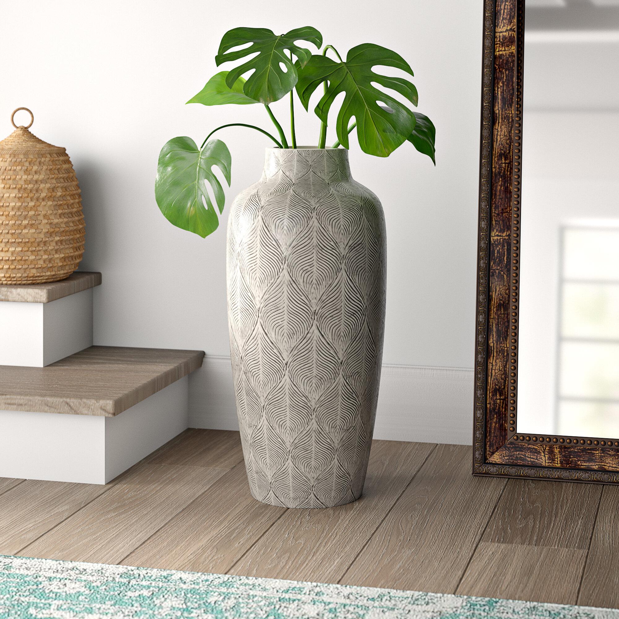 Adda Feathered Oversize Floor Vase