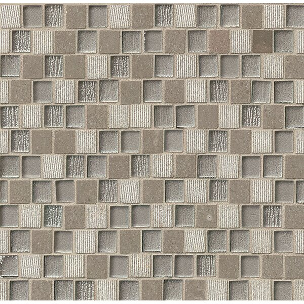 Tessuto 0.75 x 1 Stone and Glass Mosaic Tile in Gray by Bedrosians