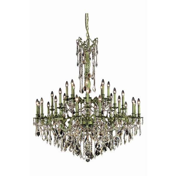 Utica 32 - Light Candle Style Tiered Chandelier with Crystal Accents by Astoria Grand Astoria Grand