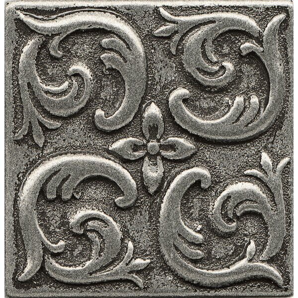 Ambiance Insert Wave 2 x 2 Resin Tile in Pewter by Bedrosians