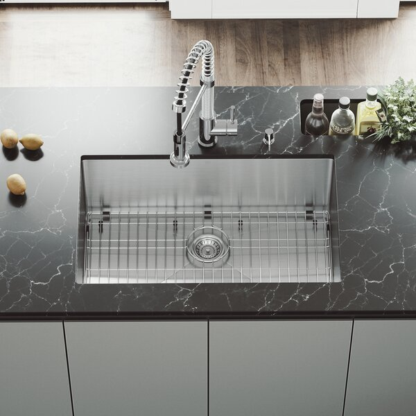 30 inch Undermount Single Bowl 16 Gauge Stainless Steel Kitchen Sink with Edison Chrome Faucet, Grid, Strainer and Soap Dispenser by VIGO