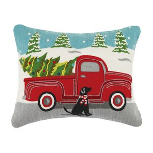 Holiday Embroidered Cotton Throw Pillow