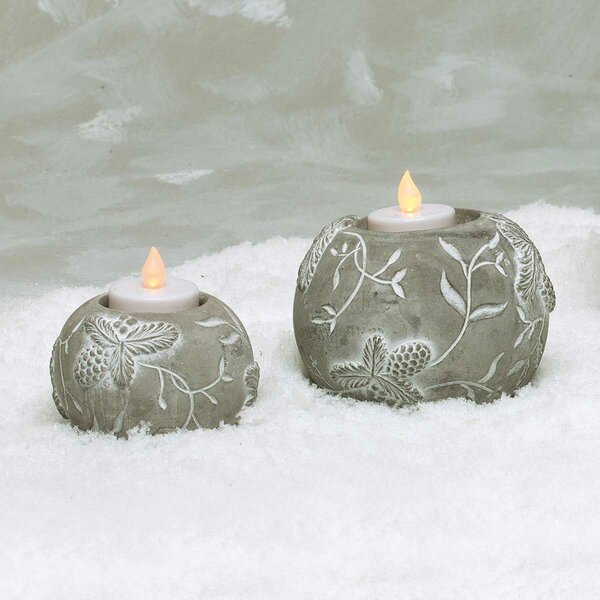 Concrete Pinecone Votive Holder Set (Set of 2) by The Holiday Aisle