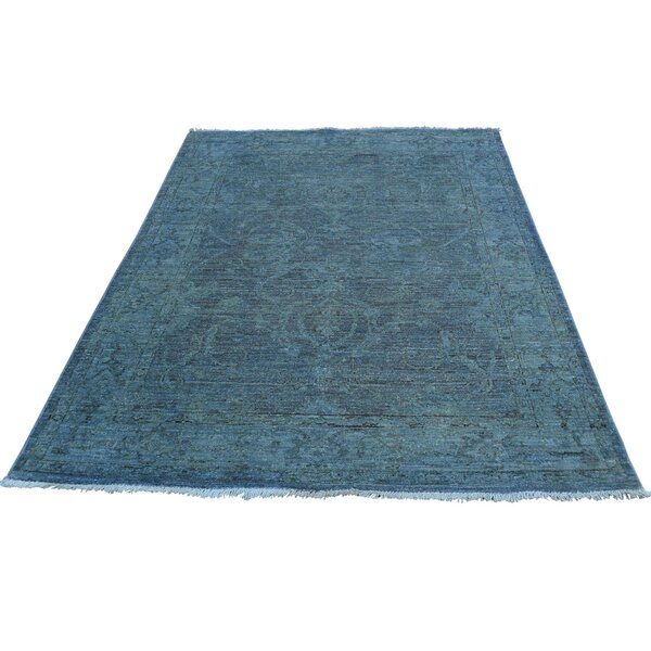 One-of-a-Kind Bagby Hand-Knotted Denim Blue Area Rug by Isabelline
