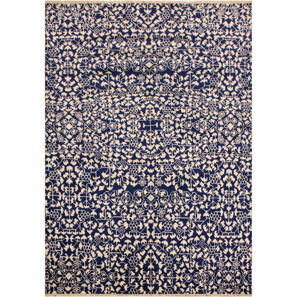 One-of-a-Kind Abshire Hand Knotted Navy/Ivory Area Rug by Isabelline