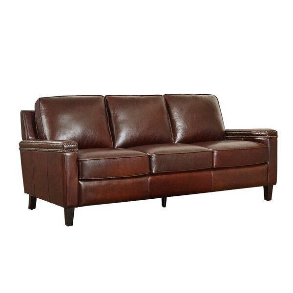Hahira Leather Sofa by Three Posts
