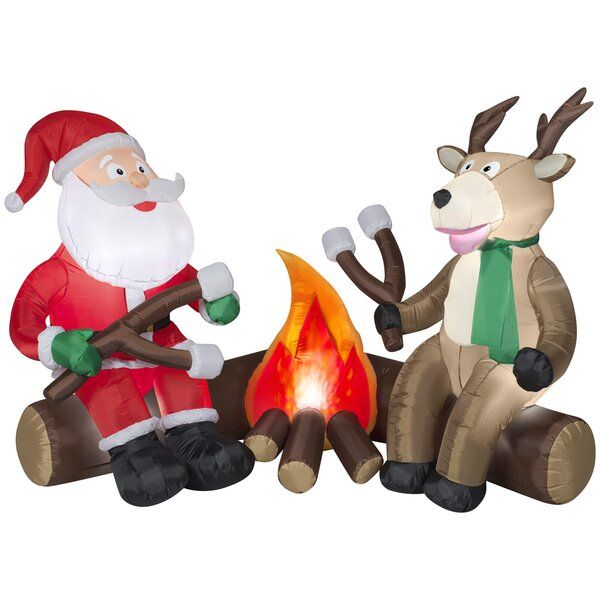 Projection Airblown Fire and Ice Santa and Reindeer Camping Scene Inflatable by The Holiday Aisle