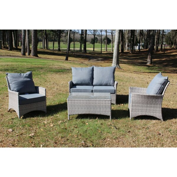 Kacey 4 Piece Outdoor Sofa Seating Group with Cushions by Ophelia & Co.
