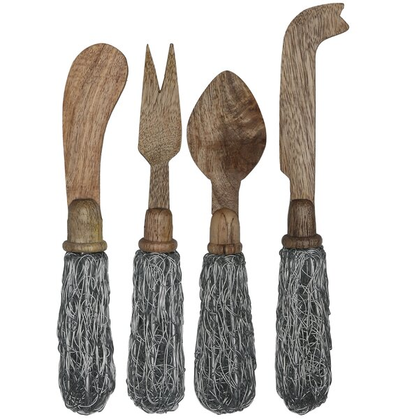 Fusco Mango Wood with Wire Handles 4 Piece Hostess / Serving Set by Gracie Oaks