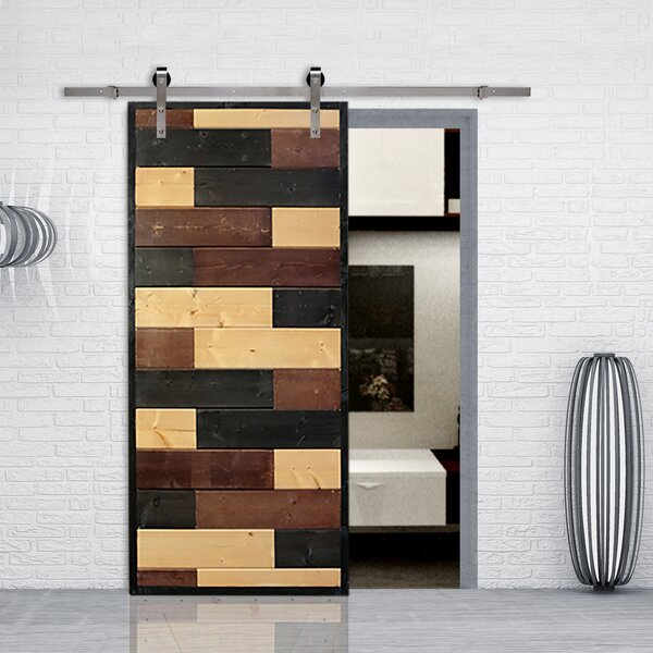 Mosaic Wood Lacquer Stained Solid Wood Interior Barn Door by Calhome