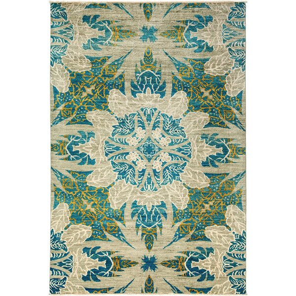 One-of-a-Kind Ziegler Hand-Knotted Blue/Beige Area Rug by Darya Rugs