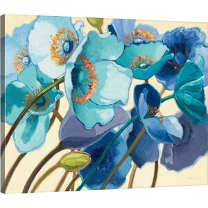 'Le Pavots Bleu' Gallery Painting Print on Wrapped Canvas by Red Barrel Studio