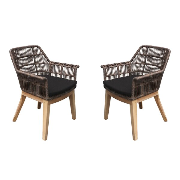 Marley Teak Patio Dining Chair with Cushion (Set of 2) by Bungalow Rose