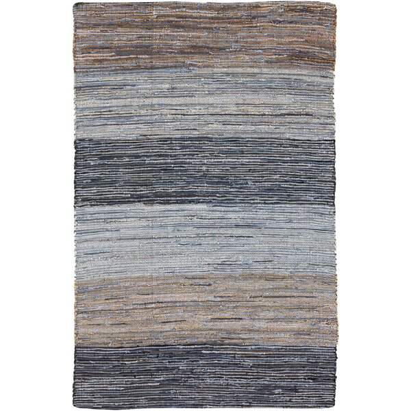 Audriana Hand-Woven Cotton Mocha/Slate Striped Area Rug by Zipcode Design