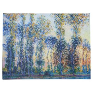 'Poplars at Giverny at Sunrise' by Claude Monet  Painting Print on Canvas by Lark Manor