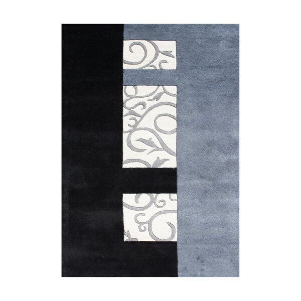 Rathdrum Hand-Tufted Black/Light Blue Area Rug by The Conestoga Trading Co.