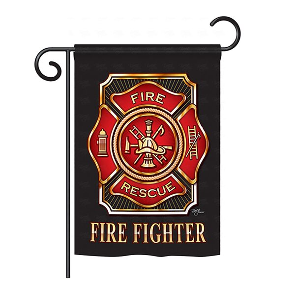 Fire Fighter 2-Sided Vertical Flag by Breeze Decor