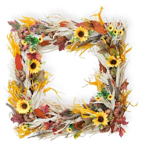 Square Sunflower 26 Plastic Wreath by August Grove