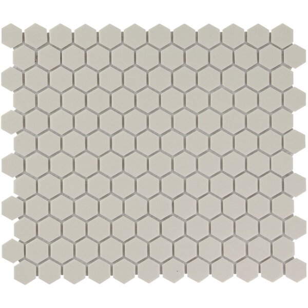 London 1 x 1 Porcelain Mosaic Tile in Cream White by The Mosaic Factory
