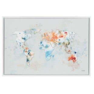 Modern world map wall art allmodern sylvie world map framed graphic art print on canvas gumiabroncs Gallery