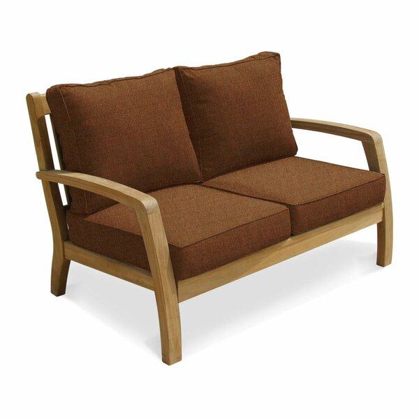 Ortega Deep Seating Teak Loveseat with Sunbrella Cushions by Rosecliff Heights