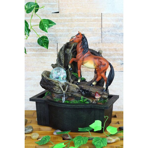 Resin/Fibreglass Horse Table Fountain with LED Light by OK Lighting