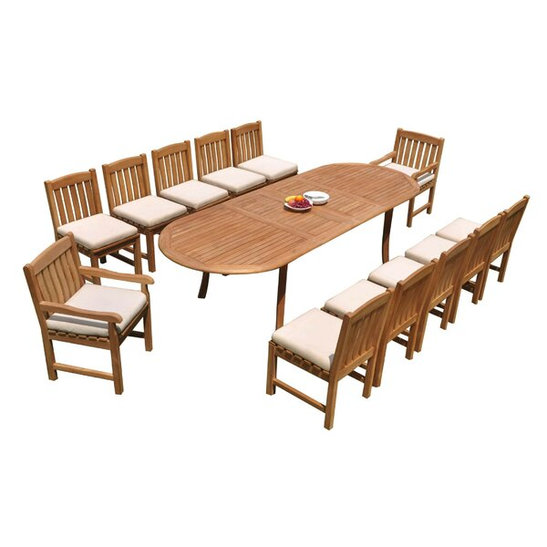 Miley 13 Piece Teak Dining Set by Rosecliff Heights