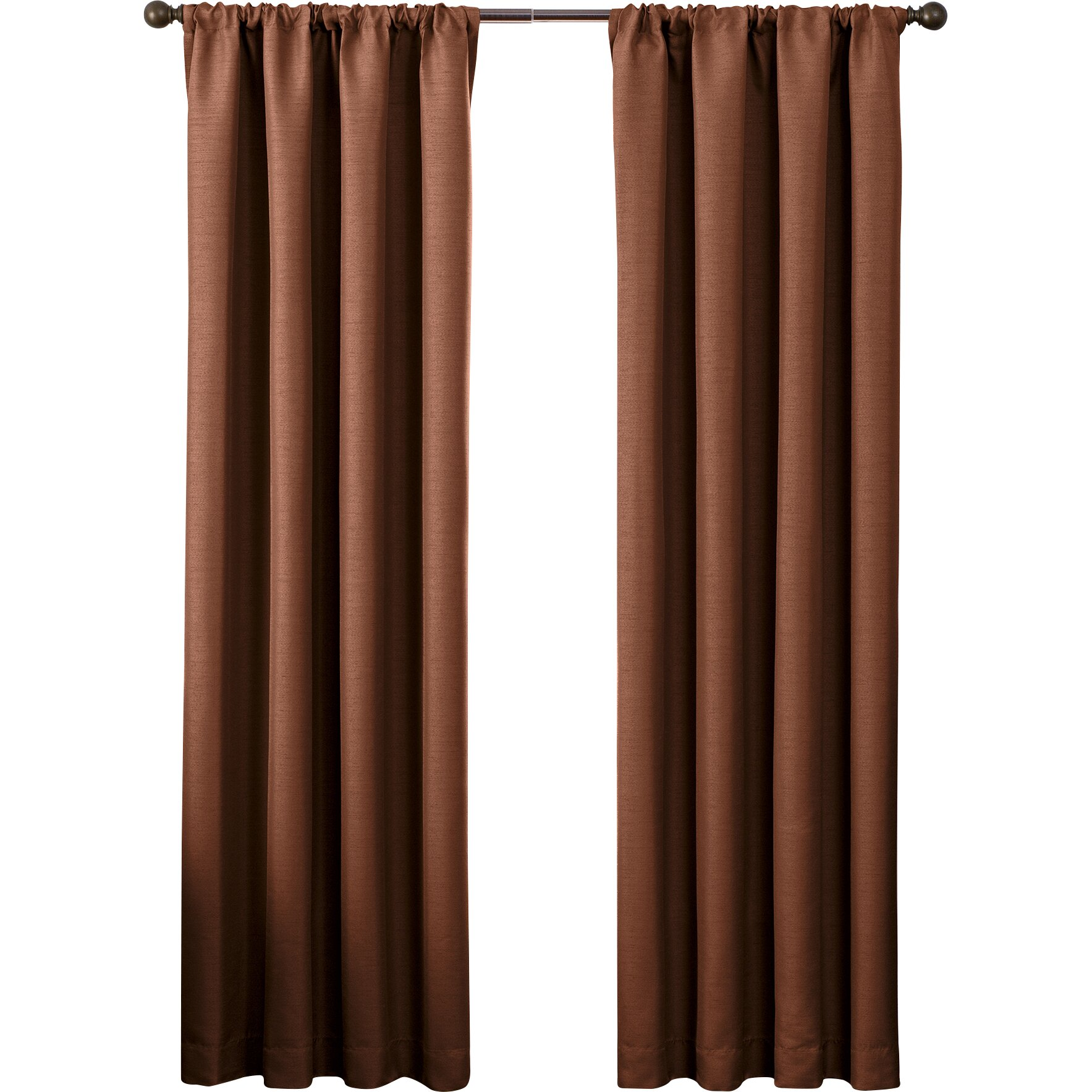 Style Domain Solid Blackout Rod Pocket Single Curtain