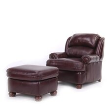 Fairford Leather Club Chair and Ottoman by Red Barrel Studio