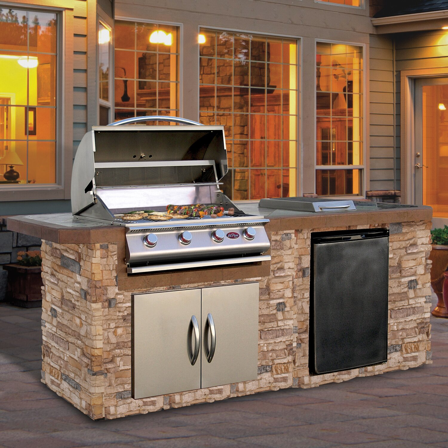 CalFlame 4-Burner Built-In Propane Gas Grill with Cabinet | Wayfair