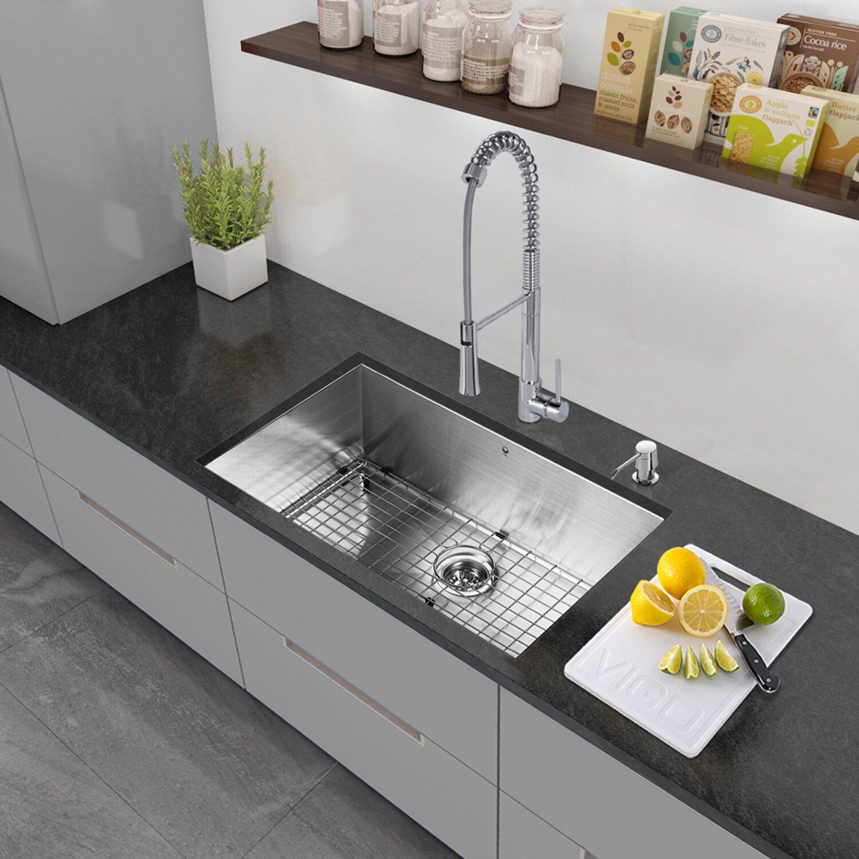 30 x 19 undermount single bowl 16 gauge stainless steel kitchen sink with strainer - Stainless Steel Kitchen Sink Gauge