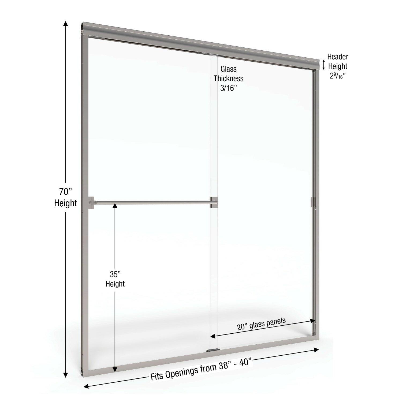 Basco classic 70 x 40 frameless bypass sliding shower for 70 inch sliding glass door