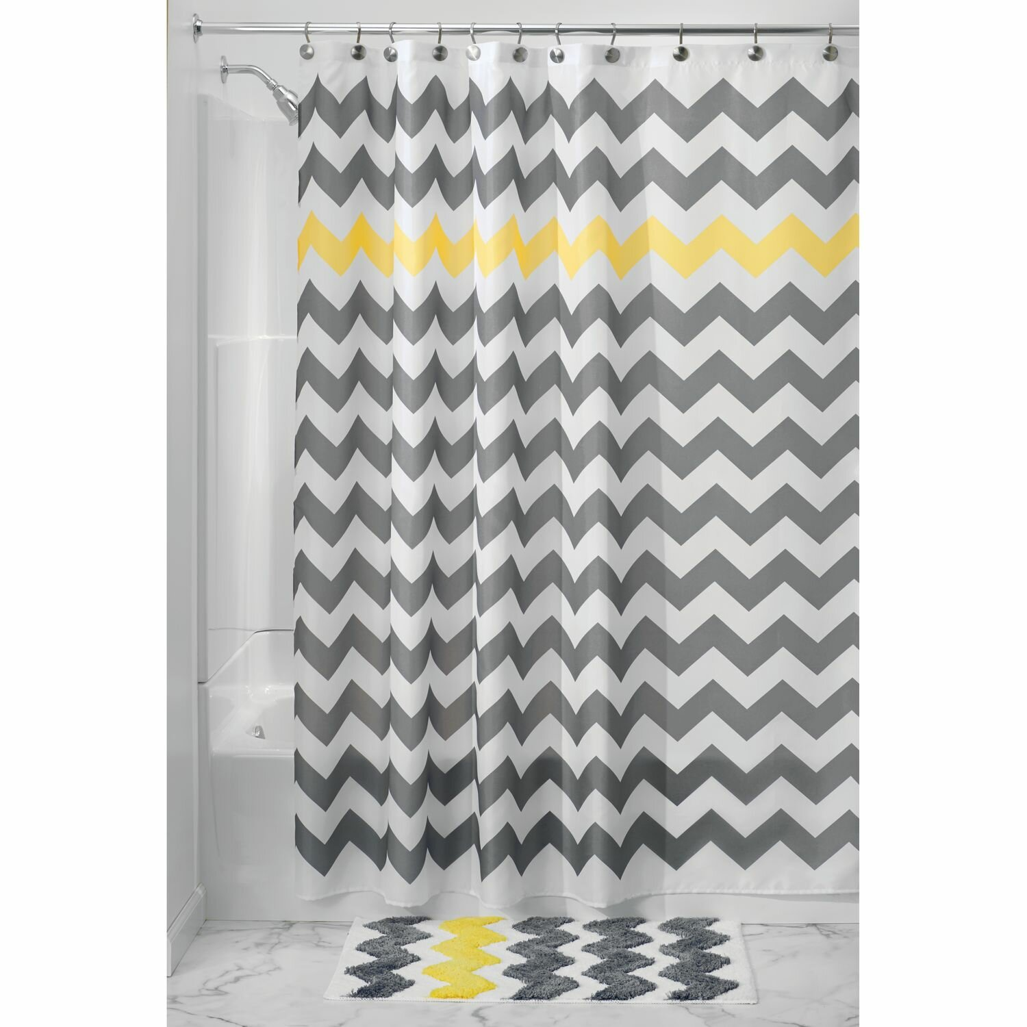 Chevron bathroom sets with shower curtain and rugs - Chevron Shower Curtain