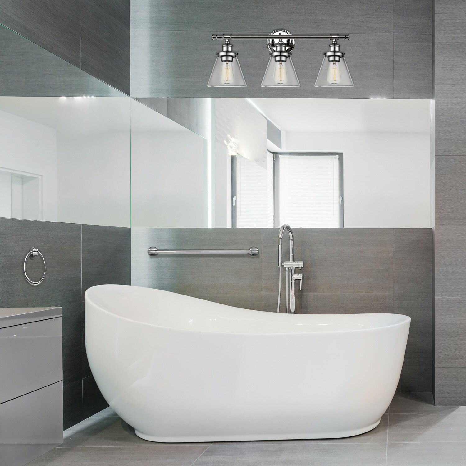 All in one bathroom - Parker All In One 3 Light Vanity Light