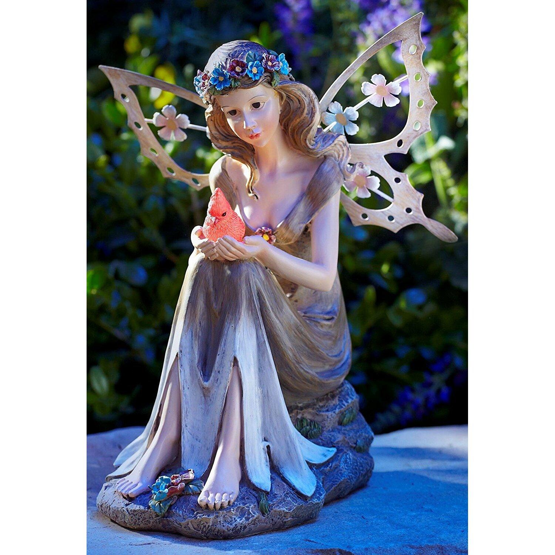 Garden Statue Fairy: Moonrays Solar Powered Garden Fairy With Glowing Cardinal